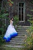 slitage bröllop för skönhetbrunettklänning Royaltyfri Bild