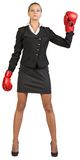 slitage för boxningaffärskvinnahandskar Royaltyfri Foto