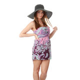 slitage för sommar för härlig modehattmodell retro Royaltyfri Foto