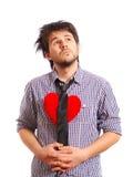 slitage för tie för gullig rolig hjärtaman rött Royaltyfria Foton