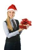 slitage för affärskvinnagåvahatt s santa Fotografering för Bildbyråer