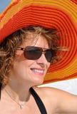 slitage kvinna för attraktiv hattsommar Royaltyfri Fotografi