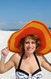 slitage kvinna för attraktiv hattsommar Fotografering för Bildbyråer