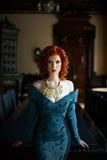 slitage kvinna för blå klänning fotografering för bildbyråer