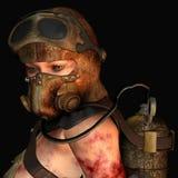 slitage kvinna för gasmaskstående Arkivbild