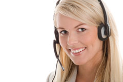 slitage kvinna för hörlurar med mikrofon fotografering för bildbyråer