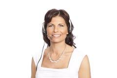 slitage kvinna för hörlurar med mikrofon arkivbilder