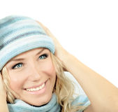 slitage vinter för gullig flickahatt Royaltyfri Fotografi