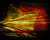 Sliten amerikanska flaggan stock illustrationer