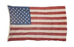 Sliten amerikanska flaggan som är gammal och Arkivbilder