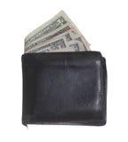 Sliten handväska med dollar Fotografering för Bildbyråer