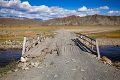 Sliten ner träbro i Altai berg Mongoliet Royaltyfri Bild