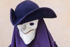 Sliten undecorated carneval maskering som Giacomo Casanova Royaltyfria Foton