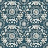 Sliten ut antik sömlös blomma V för ram för bakgrundsrundaspiral stock illustrationer