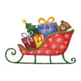 Slitta con i presente, albero di Natale dell'acquerello Fotografia Stock Libera da Diritti