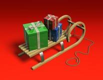 Slitta con i presente, sopra. illustrazione di stock