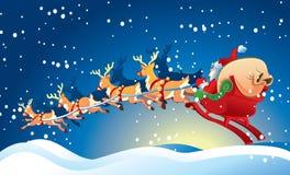 Slitta con il Babbo Natale Fotografie Stock Libere da Diritti