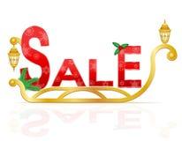 Slitta del Babbo Natale che tira l'illustrazione di vettore di vendita dell'iscrizione Fotografia Stock Libera da Diritti