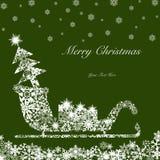 Slitta della Santa di natale con l'albero ed i presente Fotografia Stock