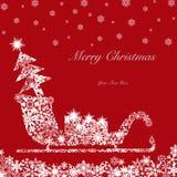 Slitta della Santa di natale con l'albero ed i presente 2 Fotografie Stock