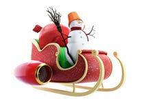 Slitta della Santa e sacco della Santa con il pupazzo di neve dei regali Fotografia Stock Libera da Diritti