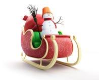 Slitta della Santa e sacco della Santa con il pupazzo di neve dei regali Immagini Stock Libere da Diritti