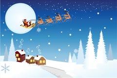 Slitta di guida della Santa con le renne Fotografie Stock Libere da Diritti