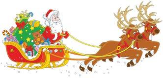 Slitta di natale del Babbo Natale Immagini Stock Libere da Diritti