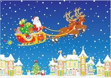 Slitta di natale del Babbo Natale Fotografia Stock Libera da Diritti