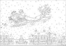 Slitta di natale del Babbo Natale Fotografie Stock Libere da Diritti