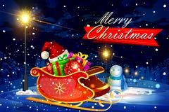 Slitta di Santa in pieno del contenitore di regalo per il Buon Natale illustrazione vettoriale