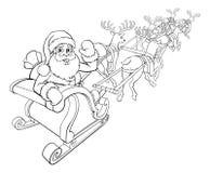 Slitta di Sleigh di Natale della renna e di Santa Claus Fotografia Stock Libera da Diritti