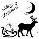 Slitta di trasporto dei cervi con i regali, la luna ed i saluti Cristo allegro illustrazione di stock