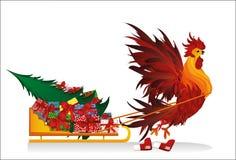 Slitta fortunata del gallo con i regali e l'albero di Natale Vettore Immagine Stock Libera da Diritti