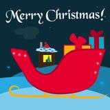 Slitta tradizionale di Natale con i contenitori di regalo da Santa Claus illustrazione di stock
