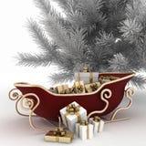 Slitte di Natale di Santa con i regali e l'albero di Natale Immagine Stock Libera da Diritti