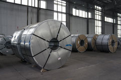 Slitted Coils Stored for manufacturing Stock Image