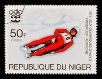 Slittino, serie di Innsbruck dei giochi olimpici, circa 1976 Immagini Stock Libere da Diritti