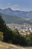 Sliven, Bulgaria. View of the city of Sliven and the Karandila (blue stone) mountains, located in the nature park Sinite kamuni Royalty Free Stock Image