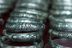 Sliver bracelet in Chinese traditional style Royalty Free Stock Images