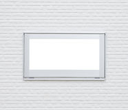 Sliver metal window frame. On white modern brick wall stock image