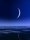 Sliver Moon over Lake Royalty Free Stock Photos