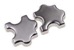 Sliver Puzzle pieces Stock Photos