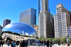 Скульптура и турист фасоли Чикаго известные Slivery Стоковые Изображения RF