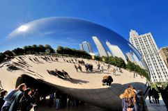 Slivery Bean in Chicago Millennium Park. Famous Chicago Millennium Park and Slivery Bean sculpture, Photo taken in October 6th, 2014 Stock Photo