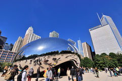 Slivery Bean and city buildings, Chicago. Famous Chicago Millennium Park and Slivery Bean sculpture, Photo taken in October 6th, 2014 Royalty Free Stock Photography