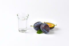 Slivovitz et prunes Photographie stock