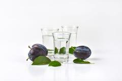 Slivovitz and plums Stock Photos