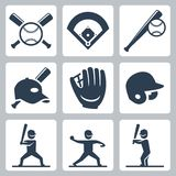 Släkta vektorsymboler för baseball Arkivfoto