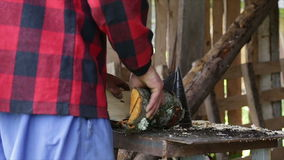 Slo-mo woodcutter with DYI machine. stock video footage
